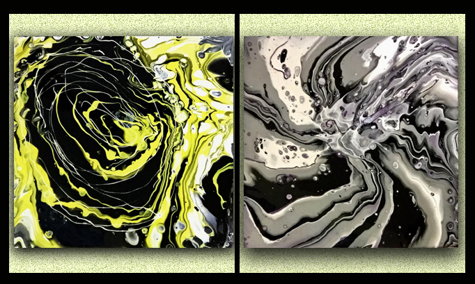 My pouring paints in new size canvas 14×14!